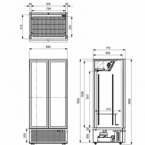 Tefcold FS890HP Upright Glass Double Door Display Chiller