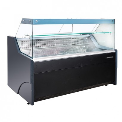 Blizzard BFG130BK 1.3m Flat Glass Serve Over Display Counter - Black