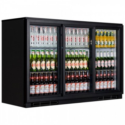 Genfrost GBB3S Triple Sliding Door Bottle Cooler Black