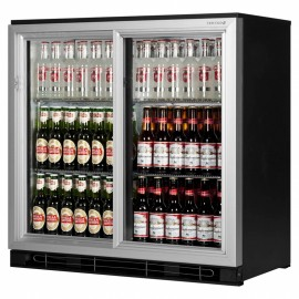 Tefcold BA20S AL 0.9m Double Sliding Door Silver Bottle Cooler