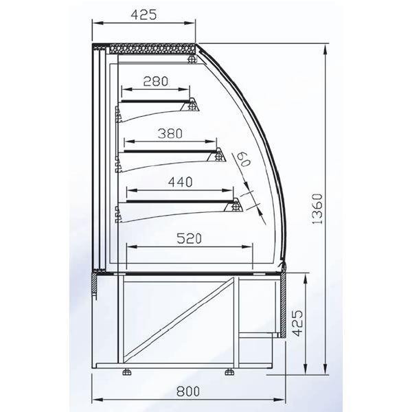 Alpine VIENNA-60-H 0.6m Heated Display Cabinet