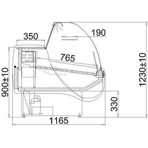 Igloo Tobi 250 2.5m Curved Glass Serve Over Counter