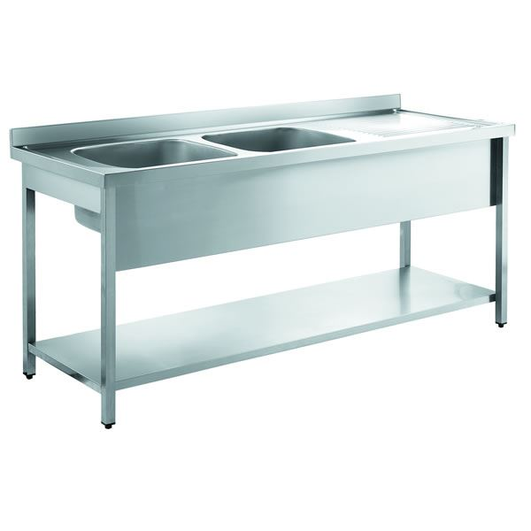 Inomak LA5192L 1.9m Double Bowl With Right Hand Drainer Catering Sink