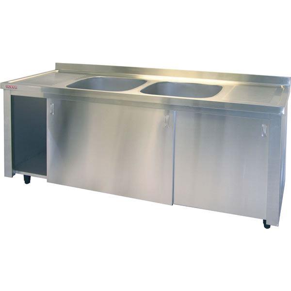 Inomak LK5192 Double Bowl 1.9m Catering Sink on Cupboard