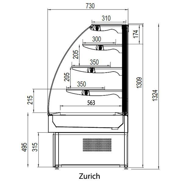 Trimco Zurich 100CHOC Wood 1.0m Chocolate Display Fridge