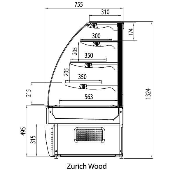 Trimco Zurich 100W 1.0m Pastry Display Fridge in Wood