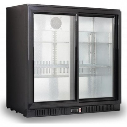 Kool NRLB-BD210AS Black Sliding Double Door Bottle Cooler