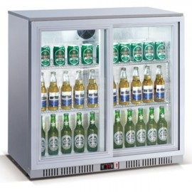 Kool NRLS-BD210AS Silver Sliding Double Door Bottle Cooler