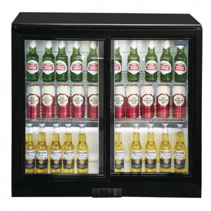 Polar GL010 198 Litre Black Double Sliding Door Back Bar Cooler