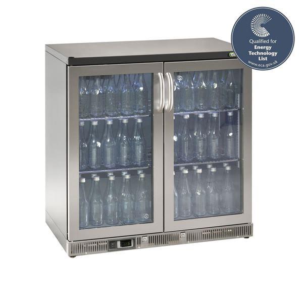 Gamko MG2-250GCS 0.9m Wide Double Door Stainless Steel Bottle Cooler