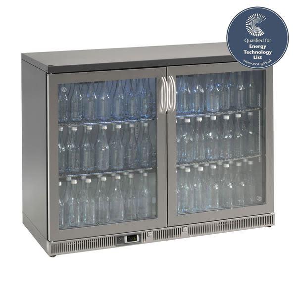 Gamko MG2-275GCS 1.2m Wide Stainless Steel Double Door Bottle Cooler