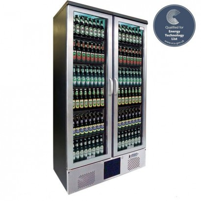Gamko MG500GCS Double Door Stainless Steel Upright Bottle Cooler