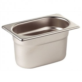Vogue Stainless Steel 1/9 One Ninth Size 65mm Deep Gastronorm Pan