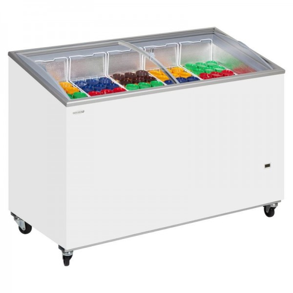Tefcold IC400SCEB 352 Litre Sliding Curved Glass Lid Chest Freezer