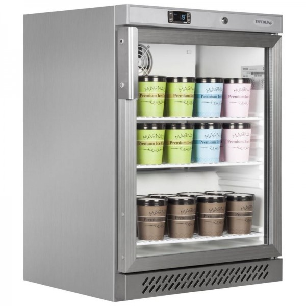 Tefcold UF200VGS 120 Litre Stainless Steel Glass Door Display Freezer