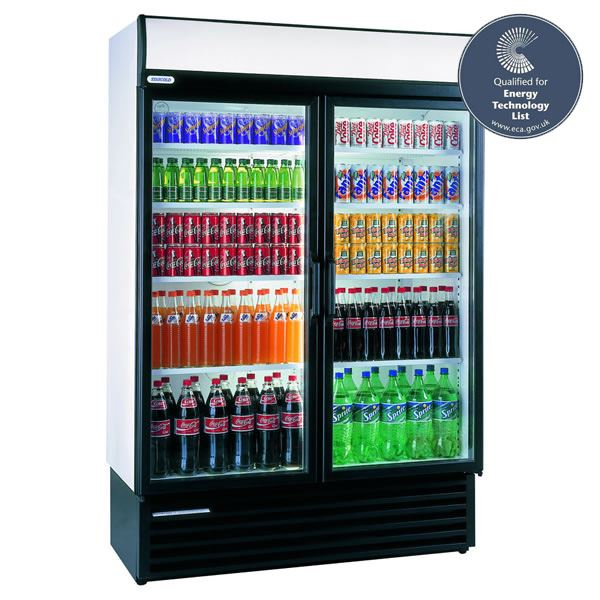 Staycold HD1360 1110 Litre Double Hinged Glass Door Display Fridge