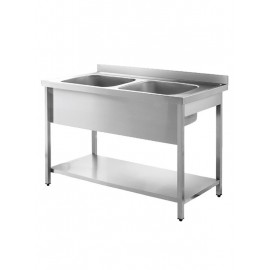 Inomak LA5142C 1.4m Double Bowl No Drainer Catering Sink