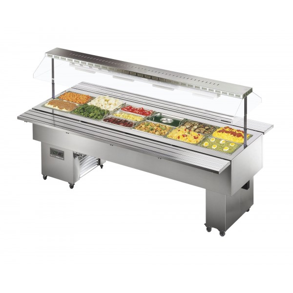 Tecfrigo ISOLA 6 BM VT SS Hot 2m Buffet Display
