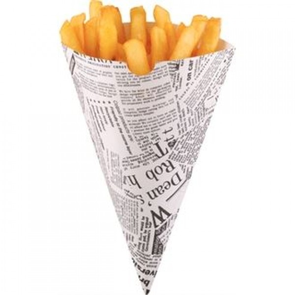 Disposable Newspaper Print Chip Cones (Pack of 1000)
