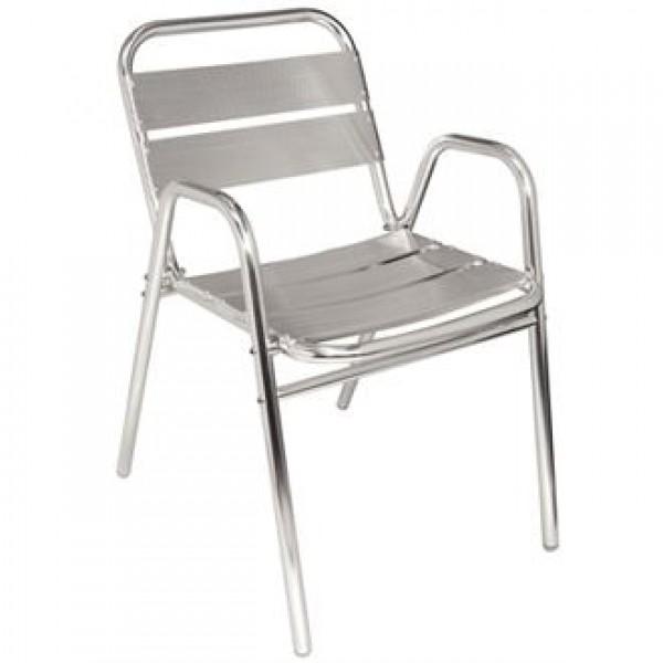 Bolero U501 Stacking Aluminium Chairs (Pack of 4)