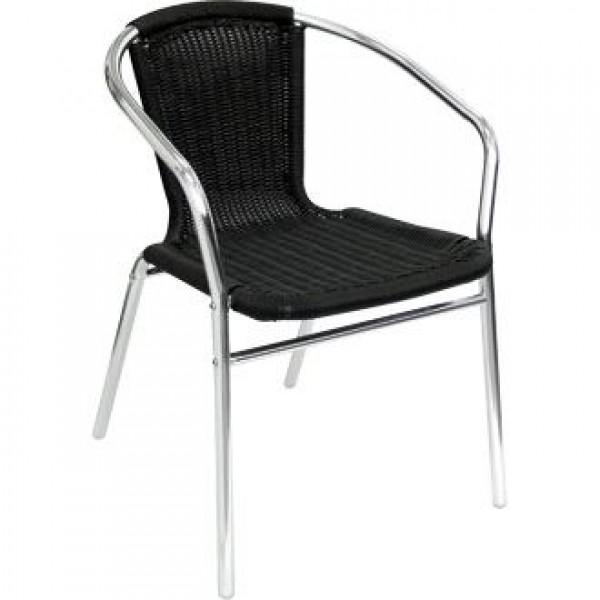 Bolero U507 Black Wicker Chair (Pack of 4)