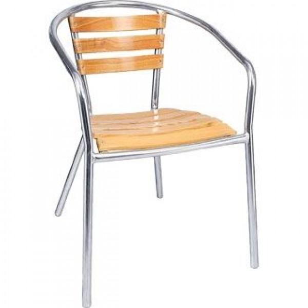 Bolero Aluminium and Ash Stacking Chair (Pack of 4)