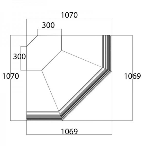 Frilixa Vista 90° EXT Corner Flat Glass Serve Over Counter