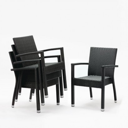 Bolero DL477 Wicker Armchairs Charcoal (Pack of 4)