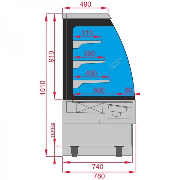 Interlevin EVO1200 SS Self Serve Low Height Multideck Chiller