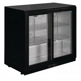 Polar GL010 198 Litre Black Double Sliding Door Back Bar Cooler