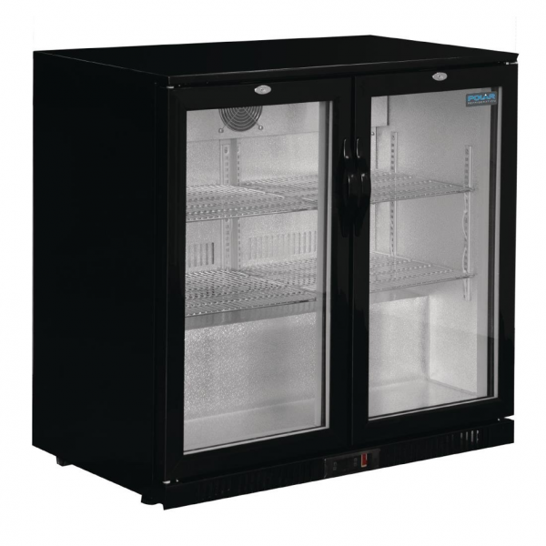 Polar GL012 Low Height Double Hinged Door Bottle Cooler Black