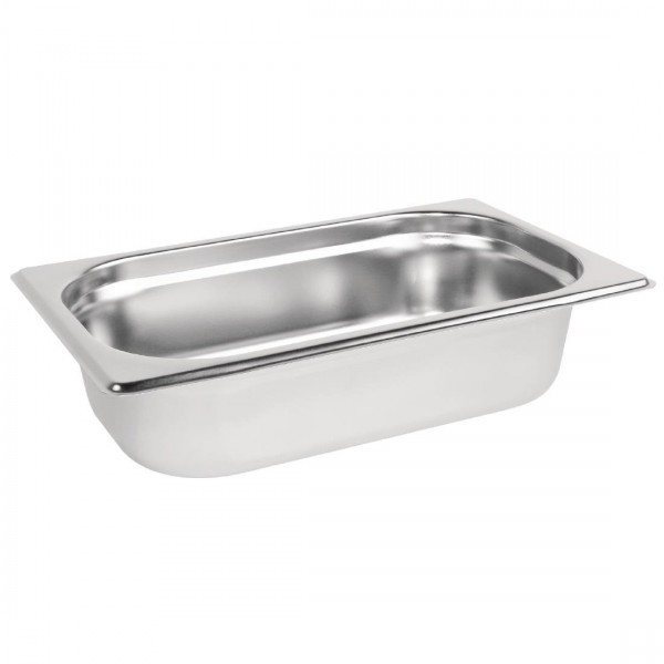 Vogue Stainless Steel 1/4 One Quarter Size 65mm Deep Gastronorm Pan