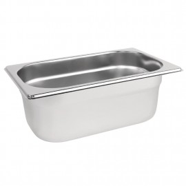 Vogue Stainless Steel 1/4 One Quarter Size 100mm Deep Gastronorm Pan