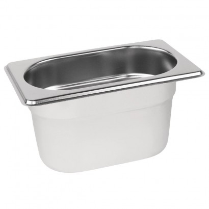 Vogue Stainless Steel 1/9 One Ninth Size 100mm Deep Gastronorm Pan