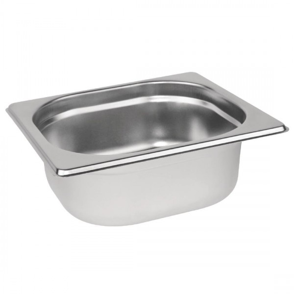 Vogue Stainless Steel 1/6 One Sixth Size 65mm Deep Gastronorm Pan