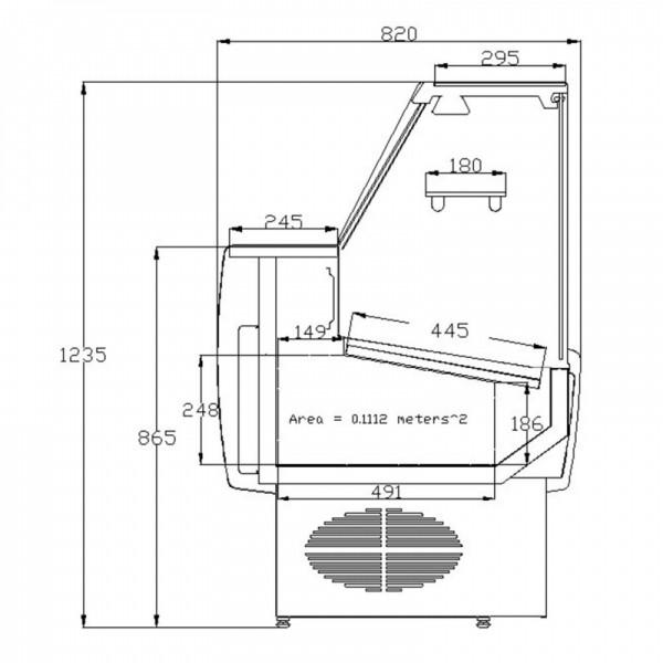 Frilixa Prima 130F 1.3m Flat Glass Slimline Serve Over Counter