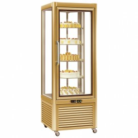 Tecfrigo PRISMA-400RG Single Door Cake Fridge in Gold with Rotating Shelves