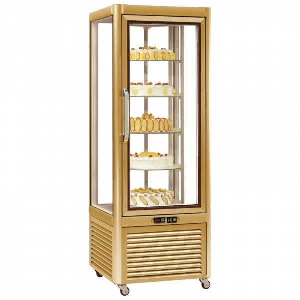 Tecfrigo PRISMA-400RG Single Door Cake Fridge in Gold with Rotating Shelves