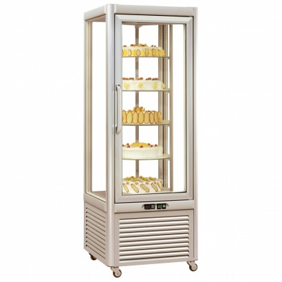 Tecfrigo PRISMA-400RS Single Door Cake Fridge in Silver with Rotating Shelves