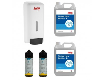 Jantex Special Offer 4 x Hand Sanitisers and Jantex Soap and Hand Sanitiser Dispenser