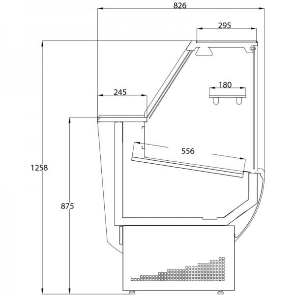 Trimco Tavira II 150F 1.5m Slimline Flat Glass Serve Over Counter
