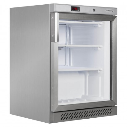 Tefcold UF200GS 140 Litre Stainless Steel Glass Door Display Freezer