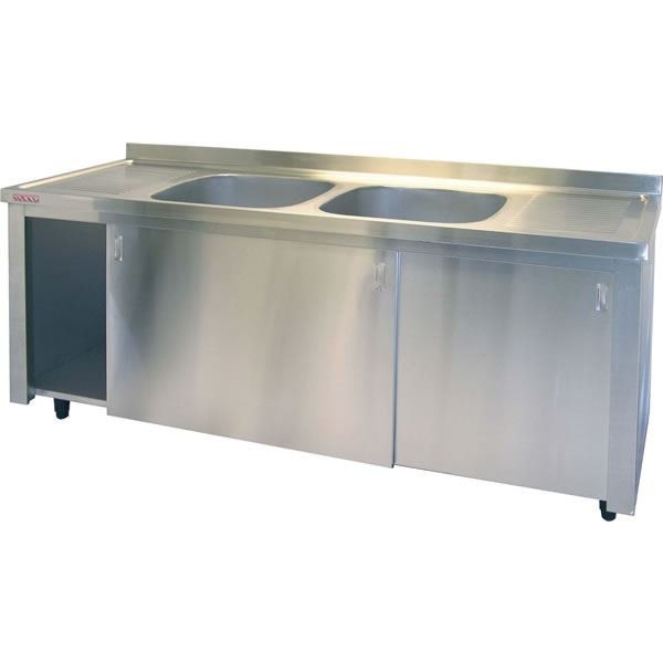 Inomak LK5192C Double Centre Bowls With Side Drainers Catering Sink on Cupboard