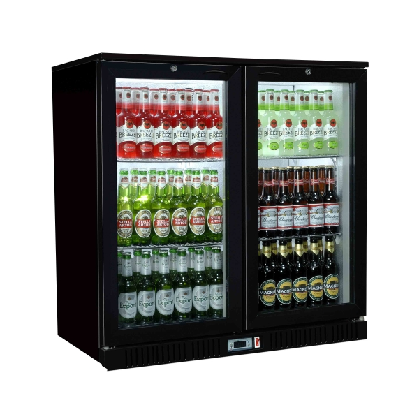 Sterling Pro SP2BC - BH Double Hinged Door Bottle Cooler Black