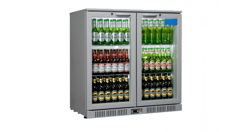 Sterling Pro SP2BC -SH Double Hinged Door Bottle Cooler Silver