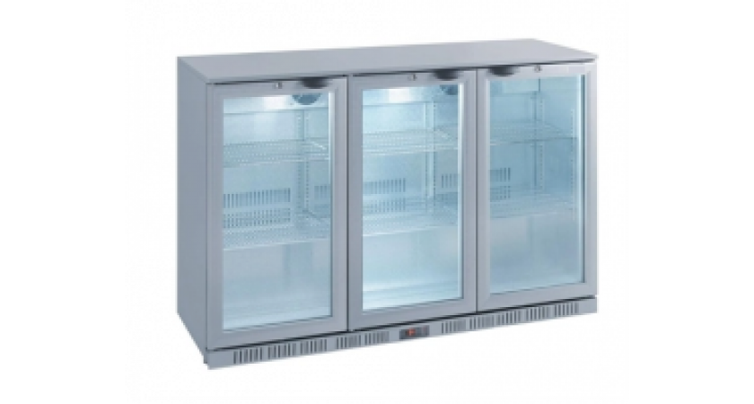 Kool NRLS-BD320A Silver Hinged Triple Door Bottle Cooler