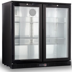 Kool NRLB-BD210A Black Hinged Double Door Bottle Cooler