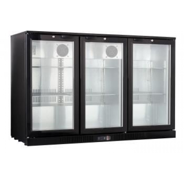 Kool NRLB-BD320A Black Hinged Triple Door Bottle Cooler
