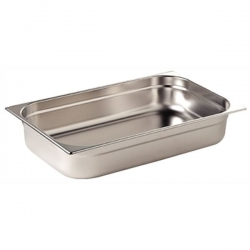 Vogue Stainless Steel 2/1 Double Full Size 40mm Deep Gastronorm Pan
