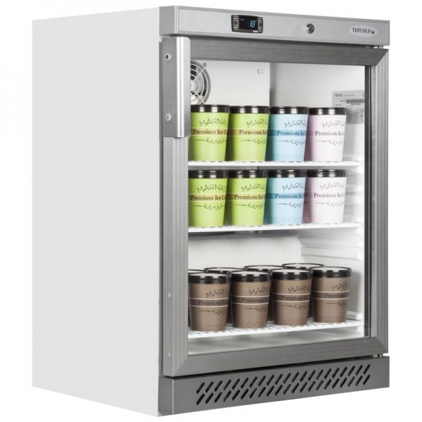 Tefcold UF200VG Stainless Steel Glass Door Display Freezer